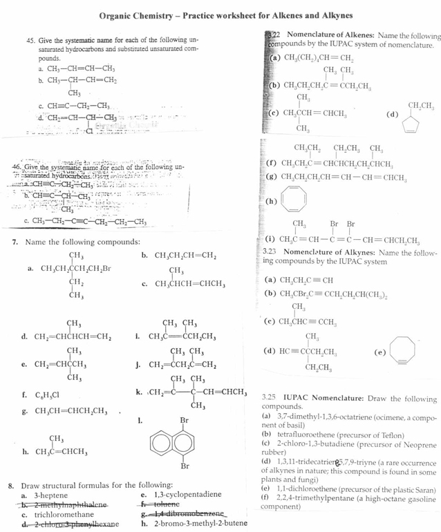 Organic Chemistry – Nomenclature Worksheet Answers