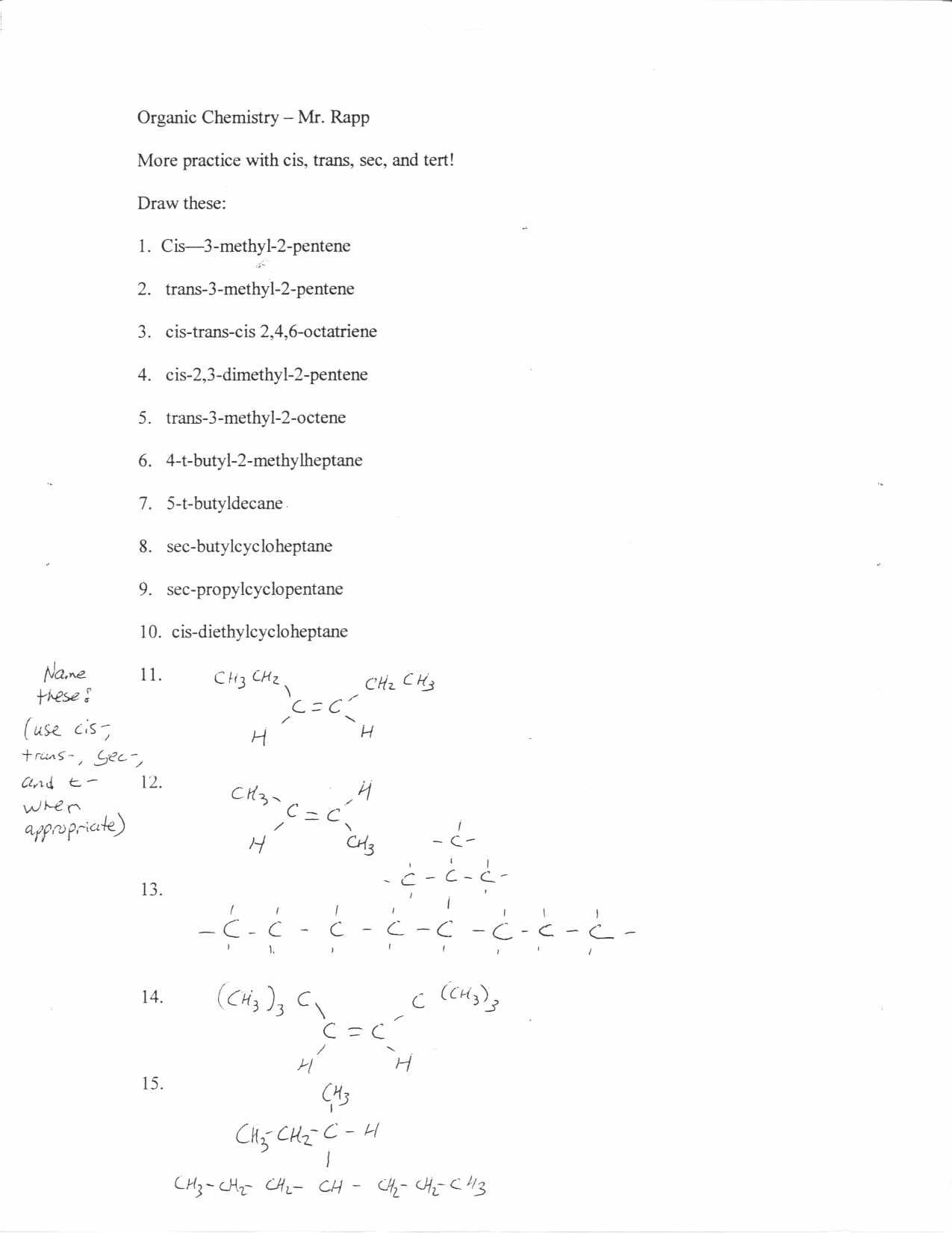 worksheet Introduction To Chemistry Worksheet organic chemistry cis trans sec
