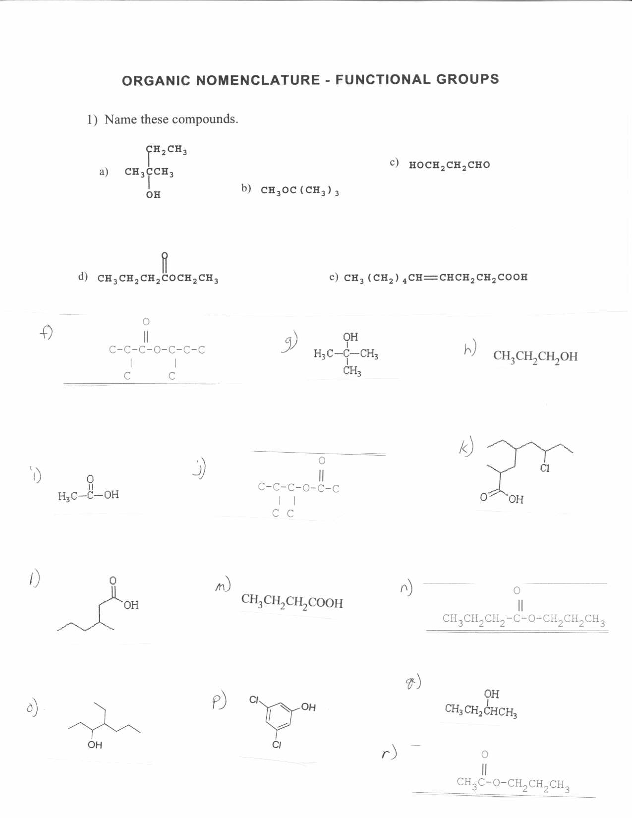 Organic Chemistry – Functional Group Worksheet