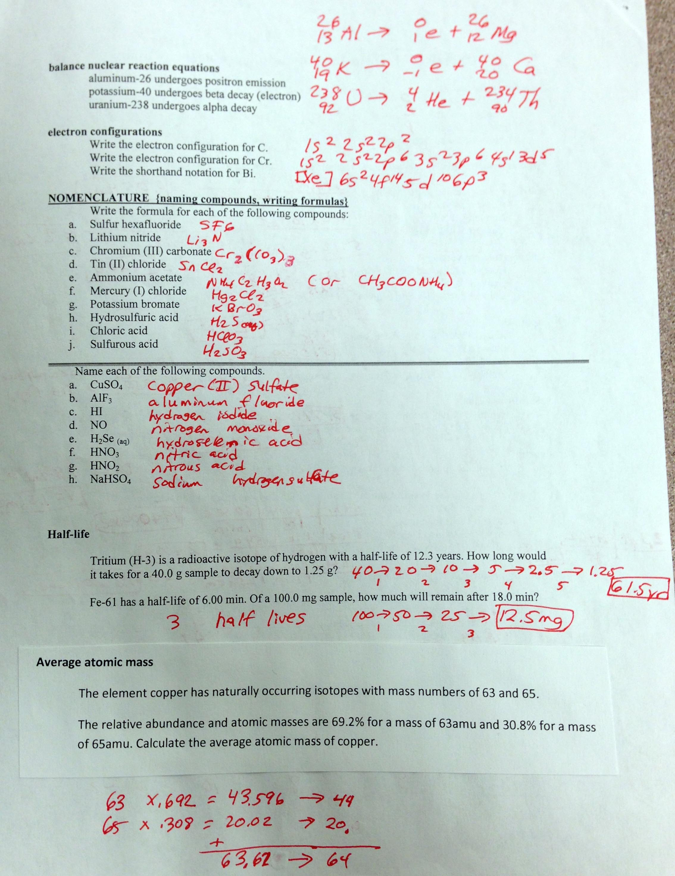 Printables Honors Chemistry Worksheets chemistry i honors final exam study guide answers page 1